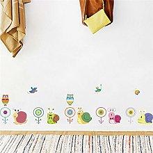 colorato lumaca gufo uccelli fiore battiscopa wall