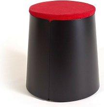 Comodo pouf su tavolino conico in metallo con 3