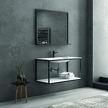 Composizione bagno metallica nera 100cm con lavabo