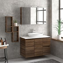 Composizione bagno sospesa 100cm: mobile, specchio
