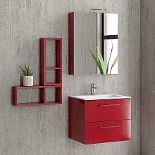 Composizione bagno sospesa 60cm: mobile, specchio