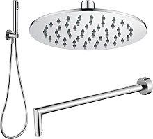 Composizione doccia con soffione tondo in acciaio