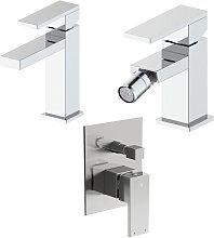 Composizione Square con miscelatore lavabo, bidet