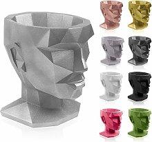 concrette Vaso per Fiori, Argento, 21x17x22 cm
