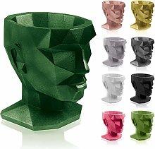 concrette Vaso per Fiori, Verde Metallizzato,