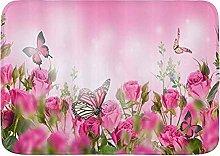 CONICIXI Tappeto Antiscivolo da Bagno Rose rosa