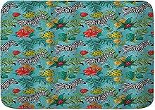 CONICIXI Tappeto Antiscivolo da Bagno Zebra Fiori