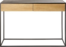 Consolle a 2 cassetti in metallo nero e legno