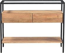 Consolle con piano in vetro e cassetti in legno