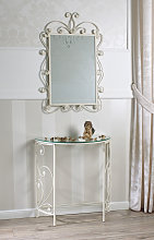 Consolle e specchio Hawaii ferro battuto bianco