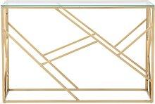 Consolle in vetro e metallo dorato