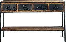 Consolle stile industriale in metallo nero e legno