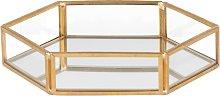 Coppetta esagonale portagioie a specchio e metallo