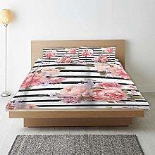 Copripiumino, set copripiumino con fiori rosa,