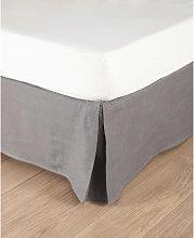 Coprirete grigio in lino slavato 180 x 200 cm