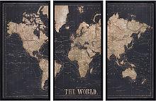 Cornice nera trittico mappa del mondo 180x120 cm