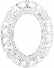 Cornice ovale Shabby Chic da parete in legno bianco