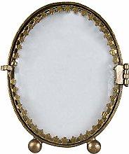 Cornice portafoto ovale in metallo goffrato colore