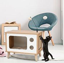Costway Casetta a forma di TV per gatti, Lettino