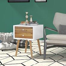 Costway Comodino di legno con 2 cassetti  Tavolino
