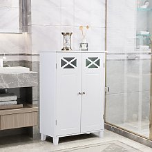 Costway Mobile da bagno con doppie porte e ripiani
