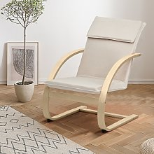 Costway Poltrona reclinabile di legno, Sedia