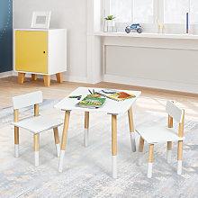 Costway Set tavolo e 2 sedie con gambe in legno di