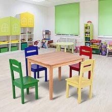 Costway Set tavolo e 4 sedie per bambini in legno