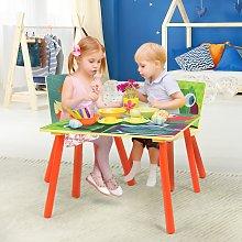 Costway Set tavolo per bambini in legno con 2