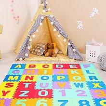 Costway Tappeto puzzle per bambini (36 pezzi)
