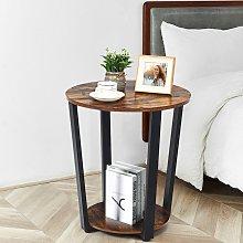 Costway Tavolino rotondo in legno con 2 livelli