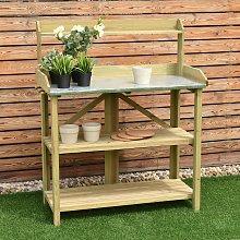 Costway Tavolo da lavoro per giardinaggio in legno