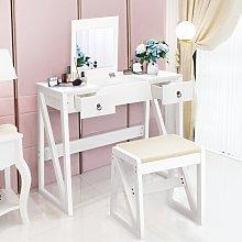 Costway Toeletta con sgabello e specchio in legno