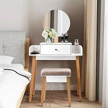 Costway Toletta in legno con specchio cassetto e