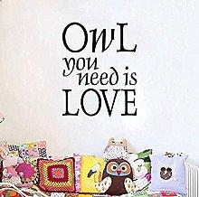 Creativity Owl You Need is Love Wall Sticker