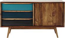 Credenza bassa vintage blu in legno