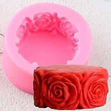 CSCZL Stampo in Silicone Rotondo con Fiori di Rosa