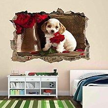 Cucciolo di cane animale fiore adesivo murale