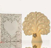 Cuorematto - Lampada a led in ceramica bianca a