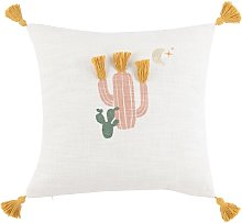 Cuscino in cotone stampa cactus multicolore con