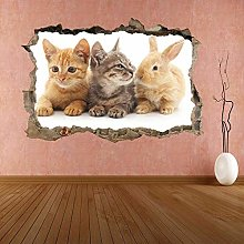 Cute Kittens Coniglio Gatti Animal Wall Sticker
