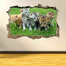 Cute Kittens Gatti Wall Art Sticker Murale Carta