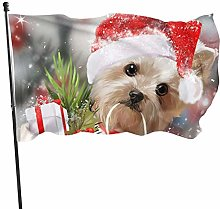 Dandiera Natale Yorkshire Terrier cane neve Natale