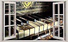 DDSY Vecchio pianoforte vintage 3d vetrofania