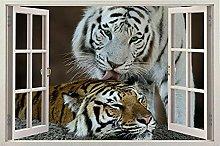 DDSY Window Tiger Animal Wild Scenery