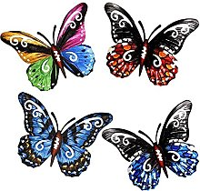 DealMux 4 pezzi 3D metallo farfalla scultura da