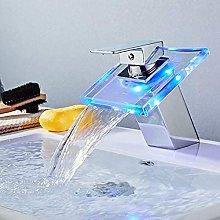 DealMux LED Rubinetto per lavabo Cascata in vetro
