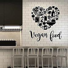 Decalcomanie da muro cibo vegano parole scritte