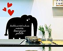 Decoramo Lavagna Adesiva Elefante, PVC, Nero,