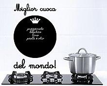Decoramo Lavagna Adesiva Miglior Cuoca, PVC, Nero,